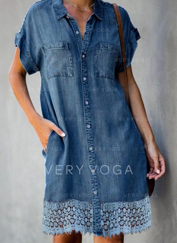 Koronka/Jednolita Krótkie rękawy Koktajlowa Nad kolana Casual/Dżinsowa Koszula Sukienki