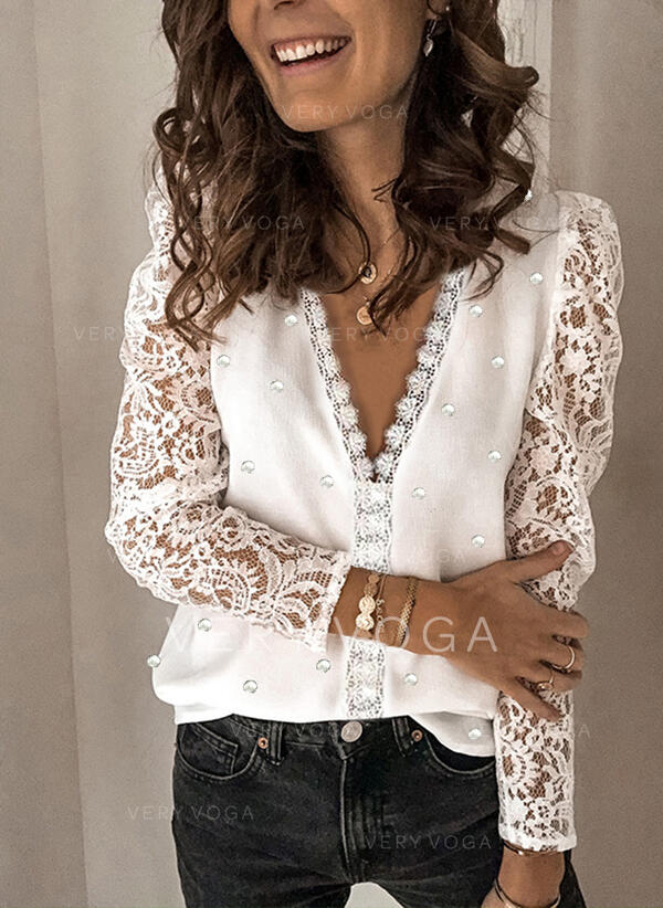 Solid Lace Beaded V-Neck Long Sleeves Elegant Blouses