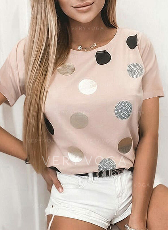 PolkaDot Round Neck Short Sleeves T-shirts