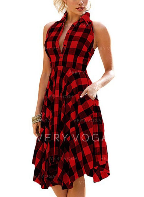 Plaid Sleeveless A-line Knee Length Casual Skater Dresses