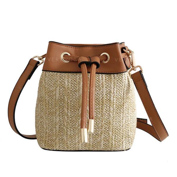 Unique PU/Linen Crossbody Bags/Beach Bags/Bucket Bags