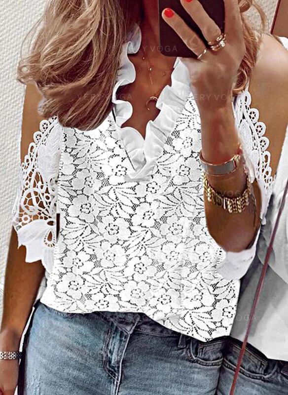 Solid Blonder Kold skulder 1/2 ærmer Elegant Skjorter