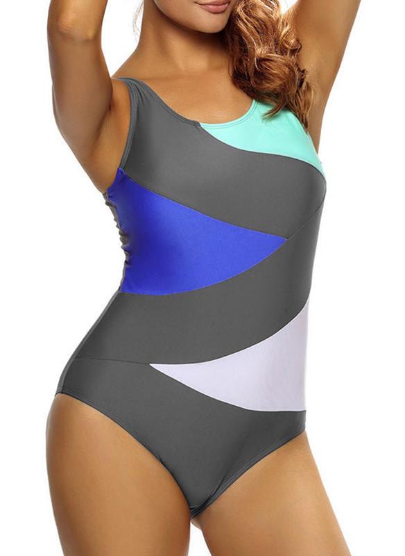 Kolorowy Dekolt w kształcie litery U Elegancki Duży rozmiar Jednoczęściowe Stroje kąpielowe