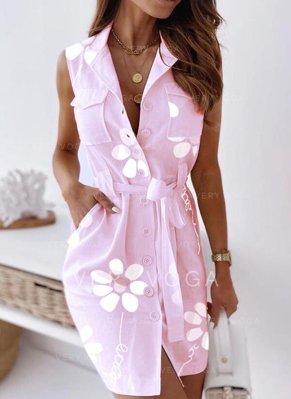 Print/Floral Sleeveless Sheath Above Knee Casual Shirt Dresses