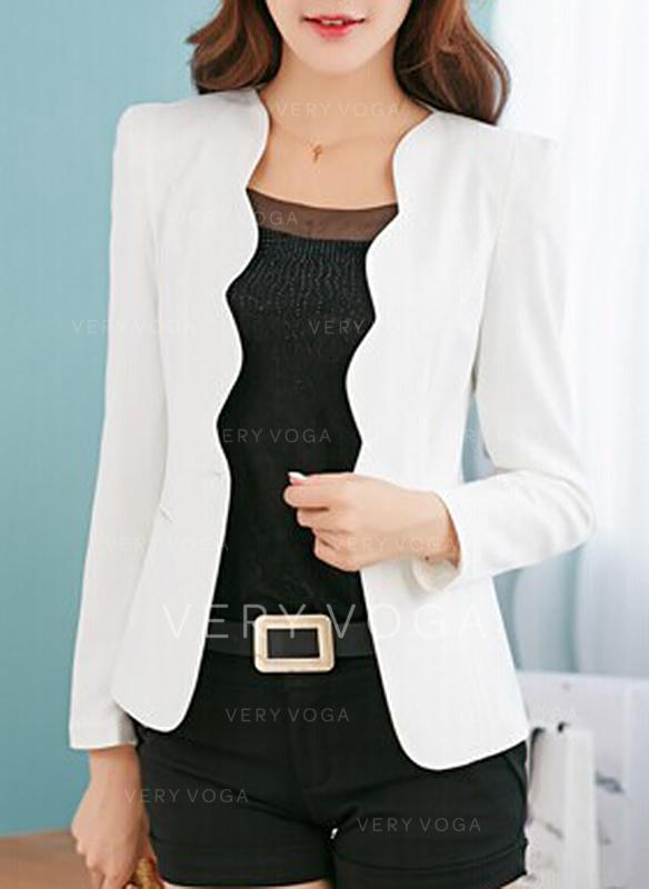 Cotton Long Sleeves Plain Blazers