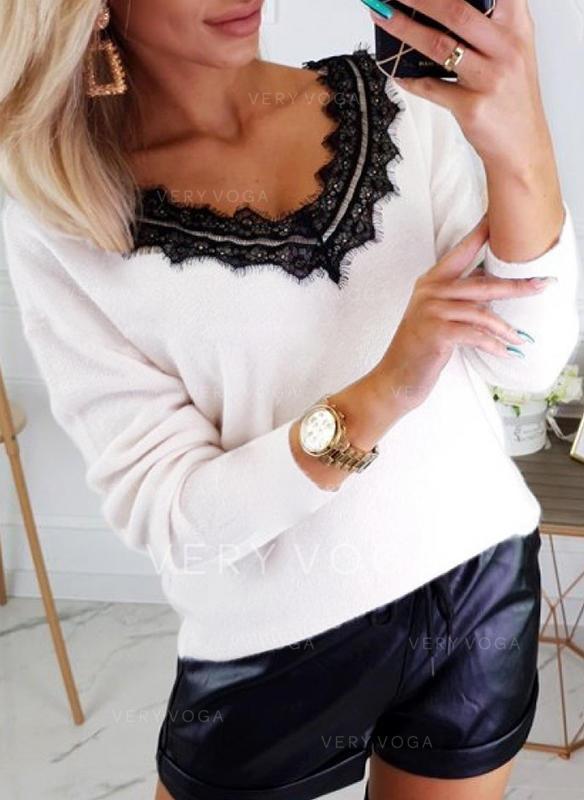 Egyszínű Csipke V-nyak Hosszú ujjú Hétköznapokra Σέξι robić na drutach πουκαμίσες