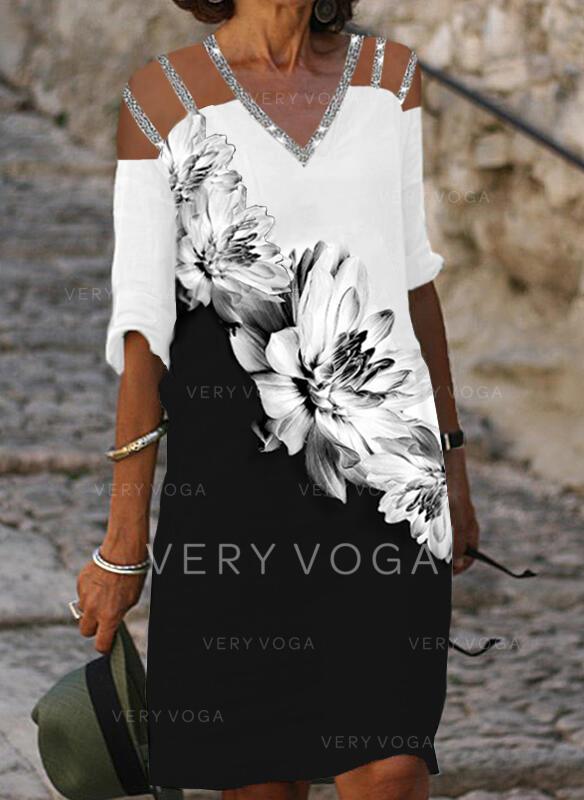 Druck/Pailletten/Blumen/Geblockte Farben 1/2 Ärmel Shift Knielang Freizeit Tunika Kleider