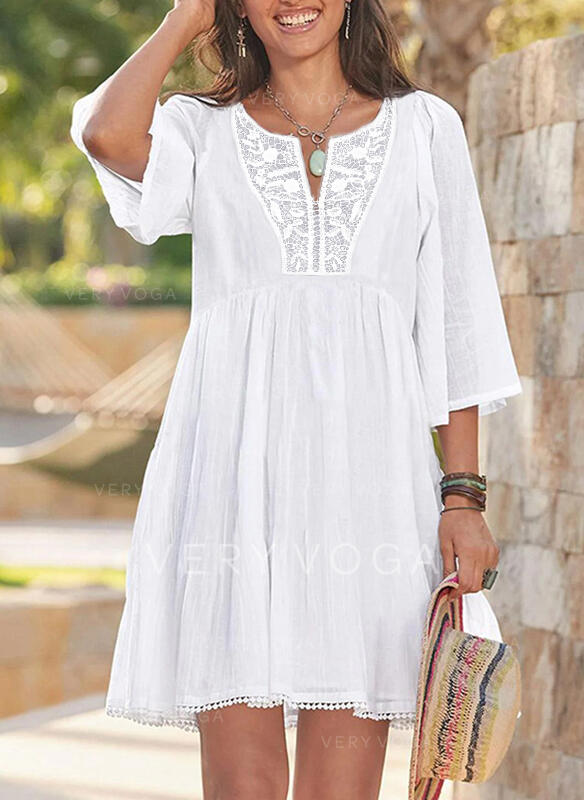Lace/Solid/Hollow-out 3/4 Sleeves A-line Above Knee Casual/Vacation Skater Dresses