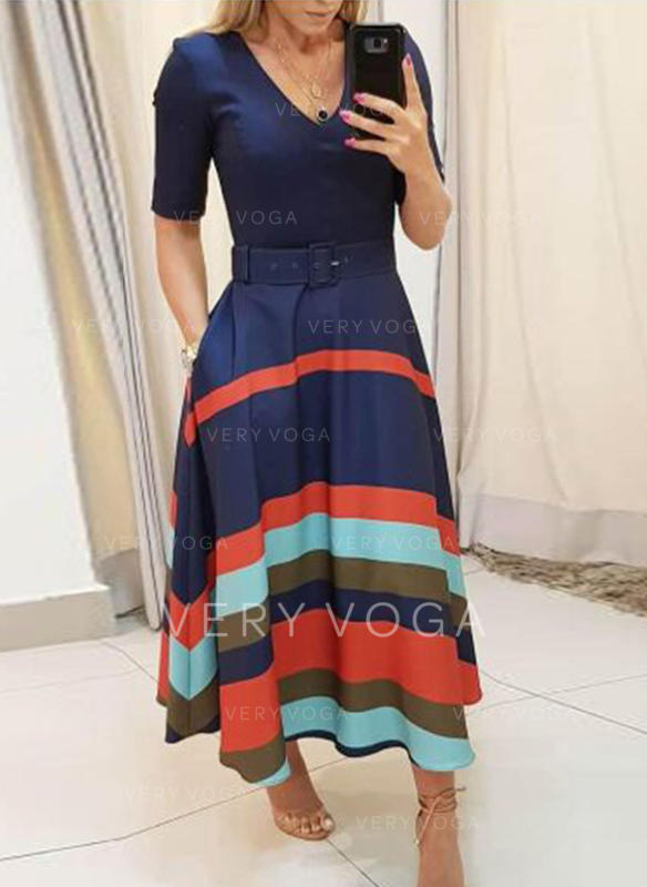Striped 1/2 Sleeves A-line Maxi Casual/Elegant Dresses