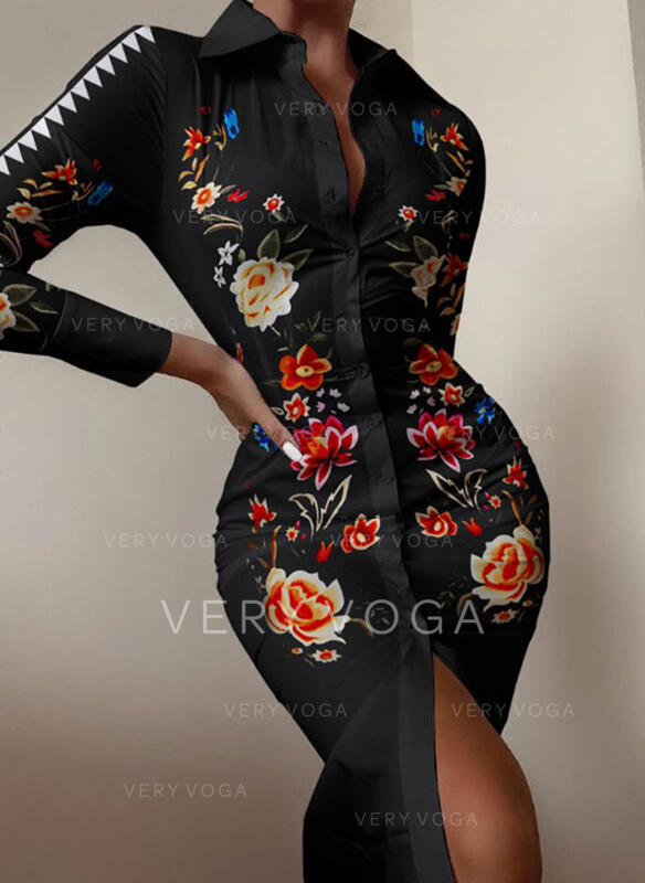 Impresión/Floral Manga Larga Ajustado Hasta la Rodilla Casual Camisa Vestidos