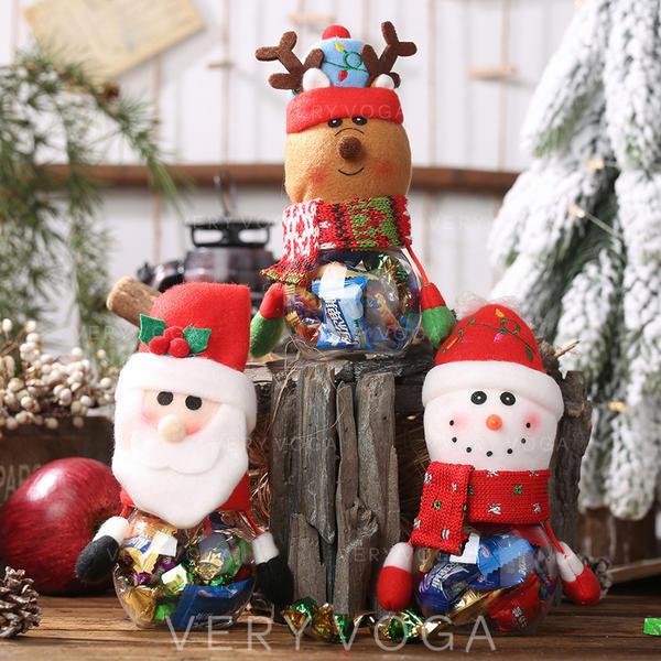 щасливого Різдва Сніговик Олені Санта Тканина ПВХ Банки з цукерками