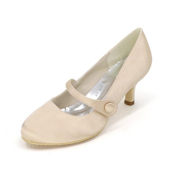 Women's Satin Stiletto Heel Closed Toe Pumps