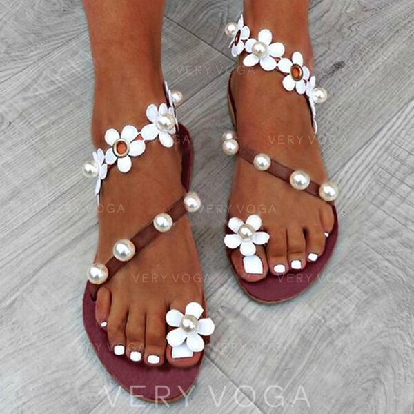 Donna PU Senza tacco Sandalo Punta aperta con Perla imitazione Fiore scarpe