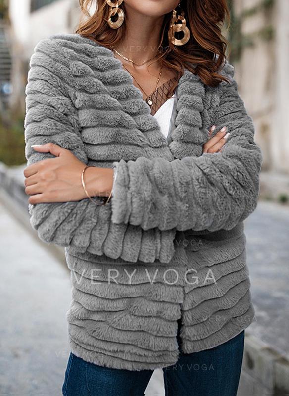 Polyester Langermer Ensfarget Faux pels jakke