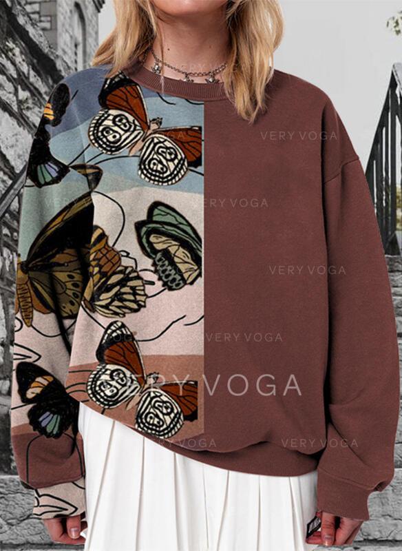 Tisk Bloc de culori fluture Kulatý Výstřih Dlouhé rukávy Hanorac