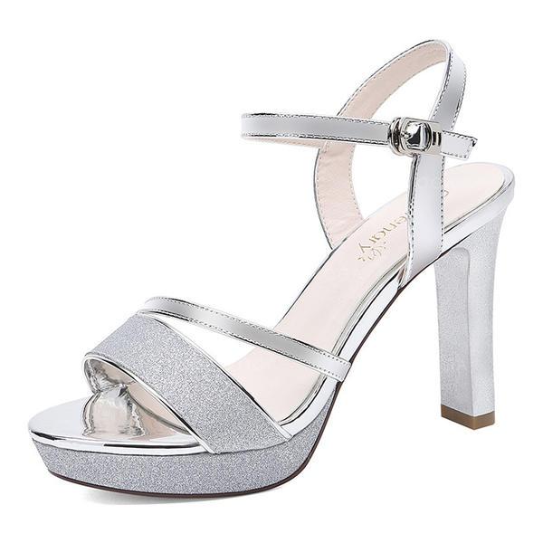 e5aad07bb0f6 Women's Sparkling Glitter Stiletto Heel Peep Toe Slingbacks ...