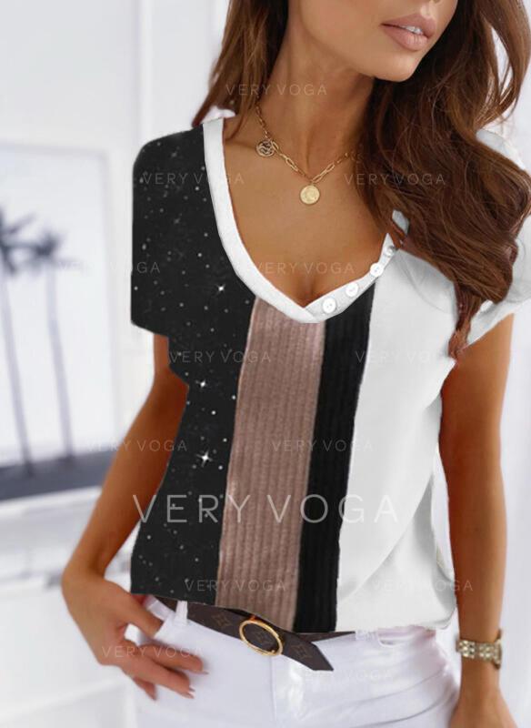 Color Block Trykk V-hals Kortermer T-skjorter