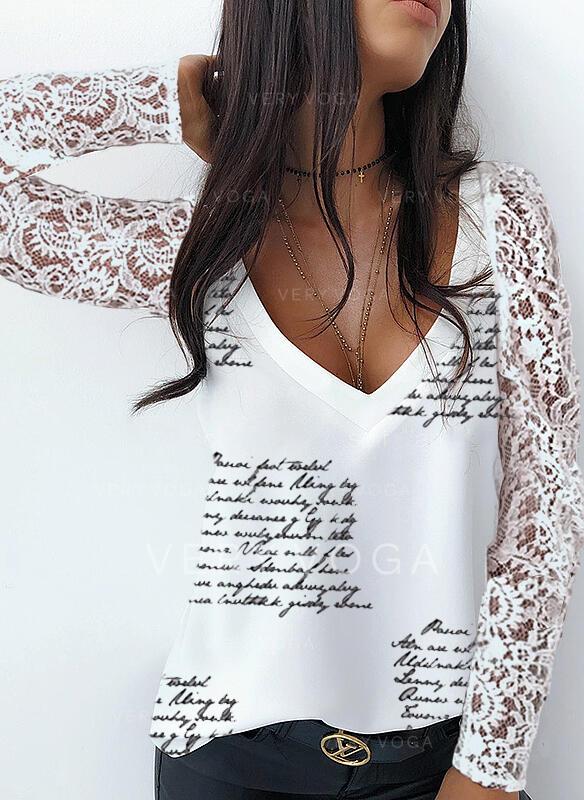 Print Blonder Figur V-hals Lange ærmer Elegant Skjorter