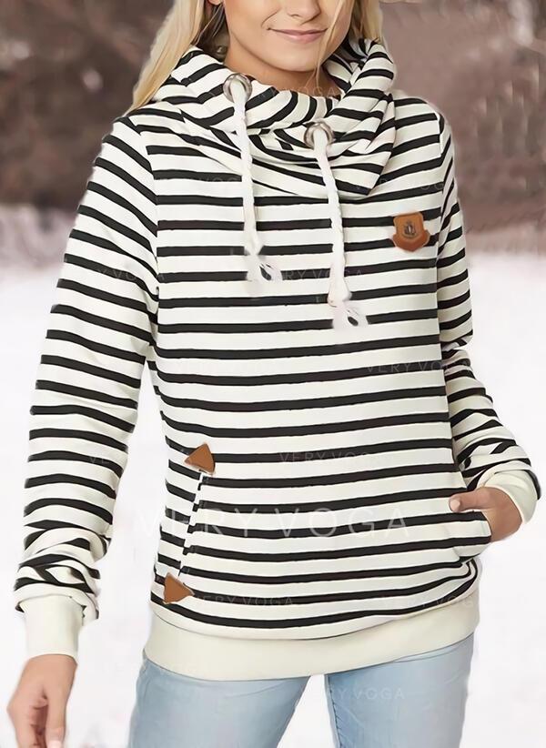 Striped Les poches Manches longues Capuche