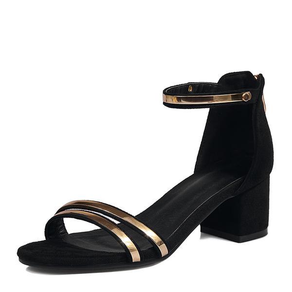 Жіночі Замша Квадратні підбори Сандалі Насоси взуття на короткій шпильці  Блискавка a28c327b381c3