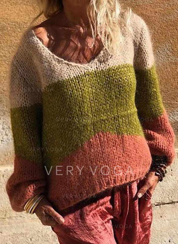 Color Block Cable-knit Chunky knit V neck Sweaters