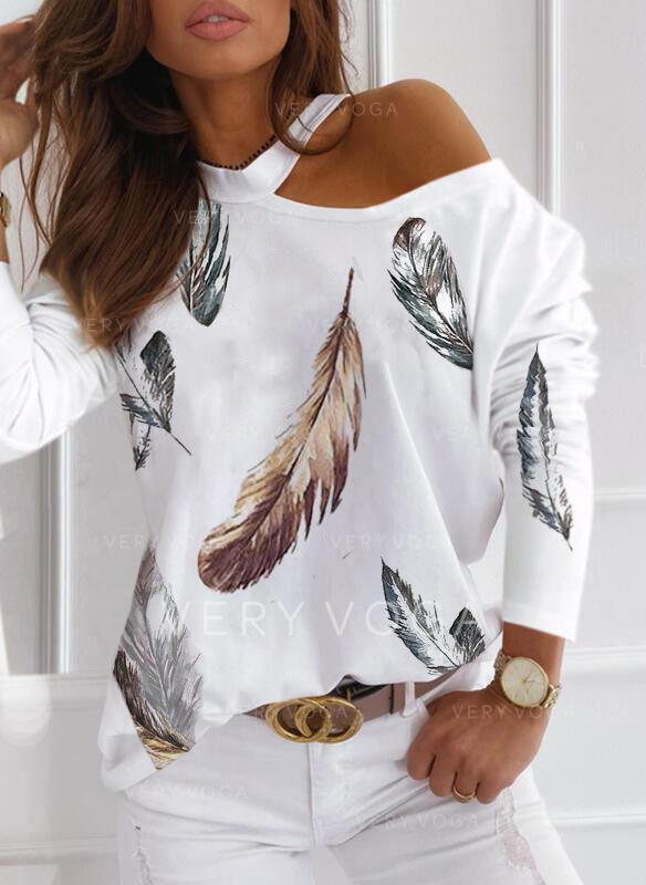 Print Feather One Shoulder Long Sleeves Casual Blouses