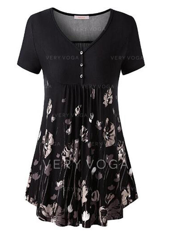 Print Floral V-Neck Short Sleeves Button Up Casual Blouses