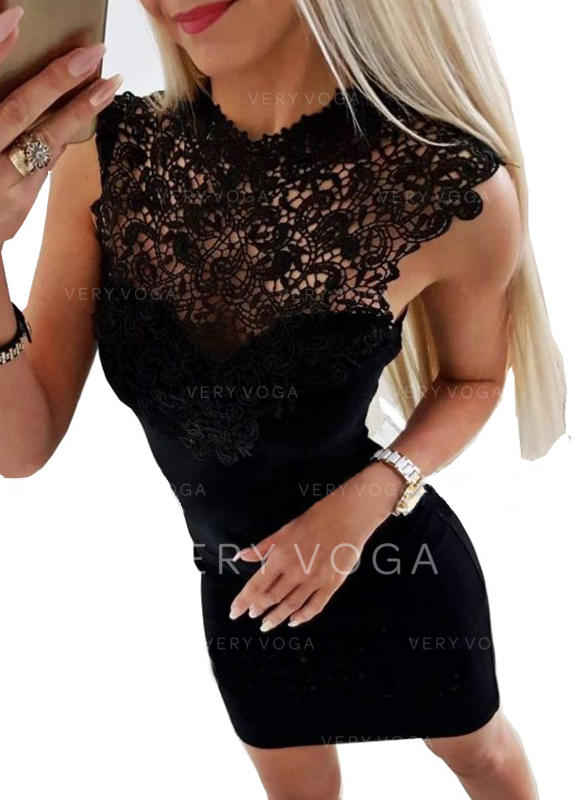 Lace/Solid Sleeveless Bodycon Above Knee Little Black/Party Dresses