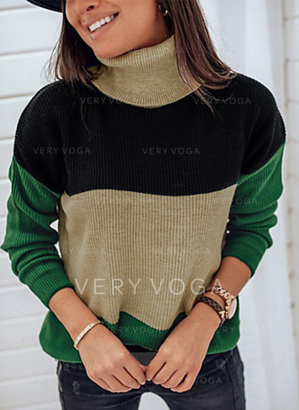 Color Block Turtleneck Casual Sweaters