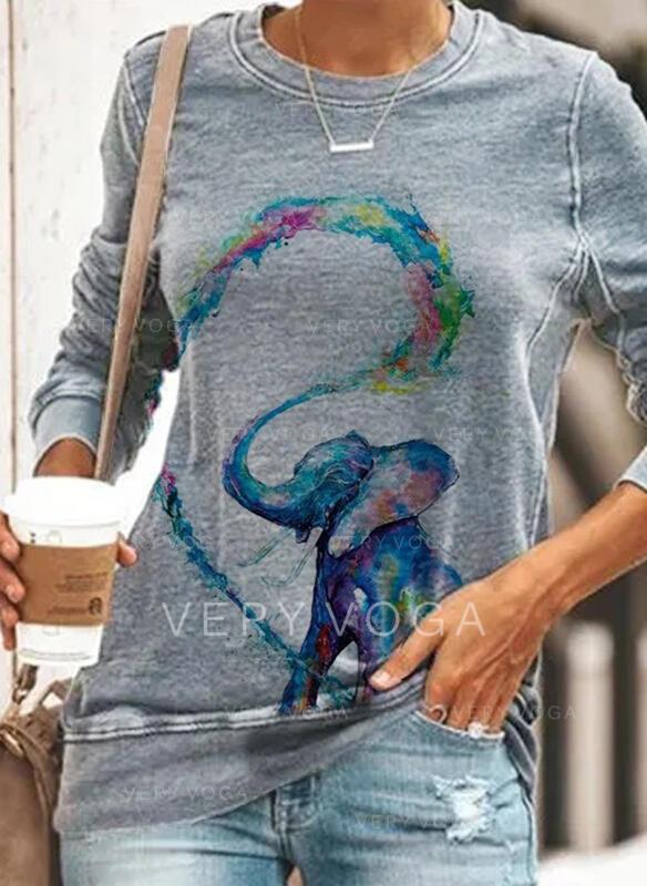 Рисунок животного Шею Длинные рукова Фуфайка