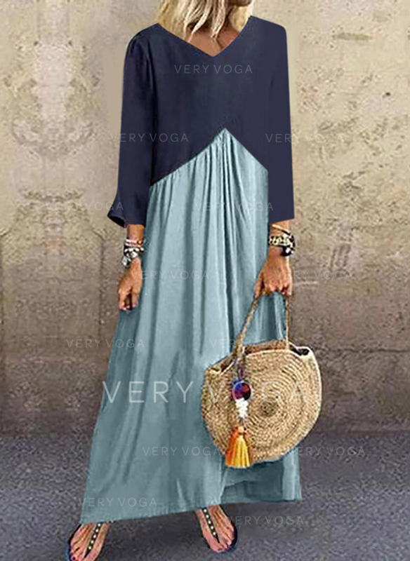 Color block Long Sleeves Shift Maxi Casual Dresses
