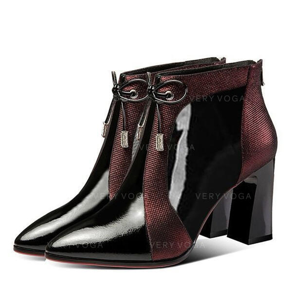 Women's PU Stiletto Heel Chunky Heel Ankle Boots With Lace-up shoes