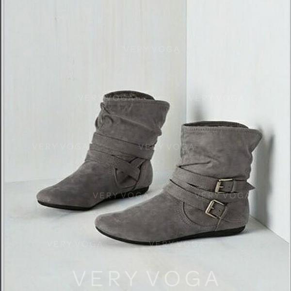 Kvinner PU Lav Hæl Mid Leggen Støvler med Spenne sko
