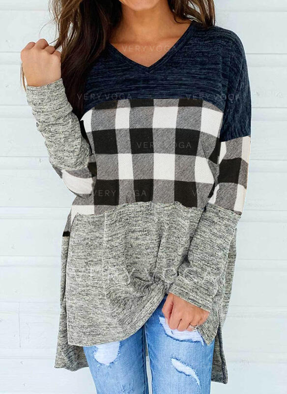 Color Block Plaid V-Neck Long Sleeves Casual Blouses