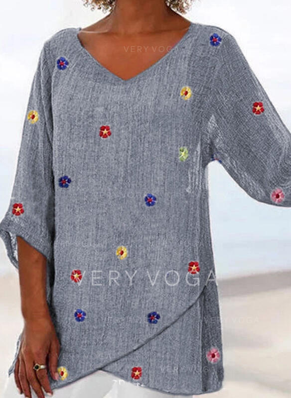 Embroidery V-Neck 3/4 Sleeves Casual Blouses