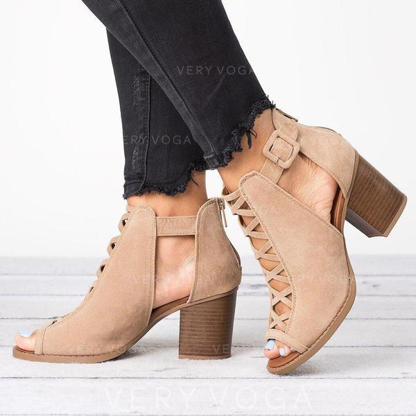 Donna Panno Tacco spesso Stivali alla caviglia con Fibbia Cava-out scarpe