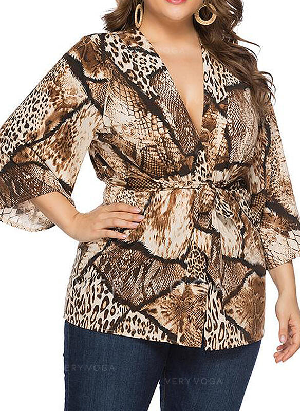Animal Print V-Neck 3/4 Sleeves Casual Elegant Plus Size Blouses