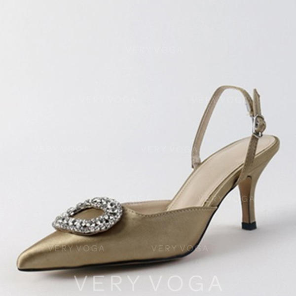 Women's Leatherette Chunky Heel Sandals Pumps Closed Toe Slingbacks With Crystal shoes