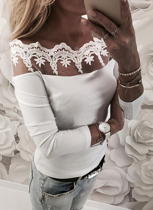 Solid Off the Shoulder Long Sleeves Casual Sexy Blouses