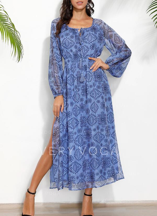 Print Long Sleeves A-line Casual/Boho/Vacation Maxi Dresses