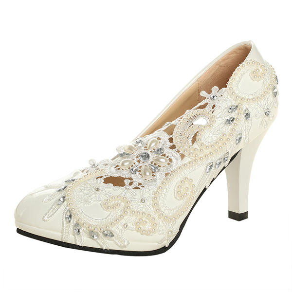 f1c901ad0f Women's Patent Leather Cone Heel Closed Toe Pumps With Imitation Pearl  Rhinestone Stitching Lace Flower