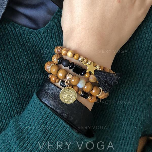 Beautiful Fashionable Exotic Alloy Wooden Beads Unisex Bracelets (Set of 4)