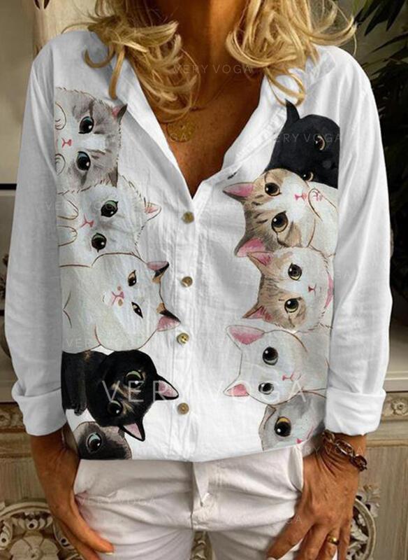 Estampado Animal Solapa Manga Larga Con Botones Casual Blusas