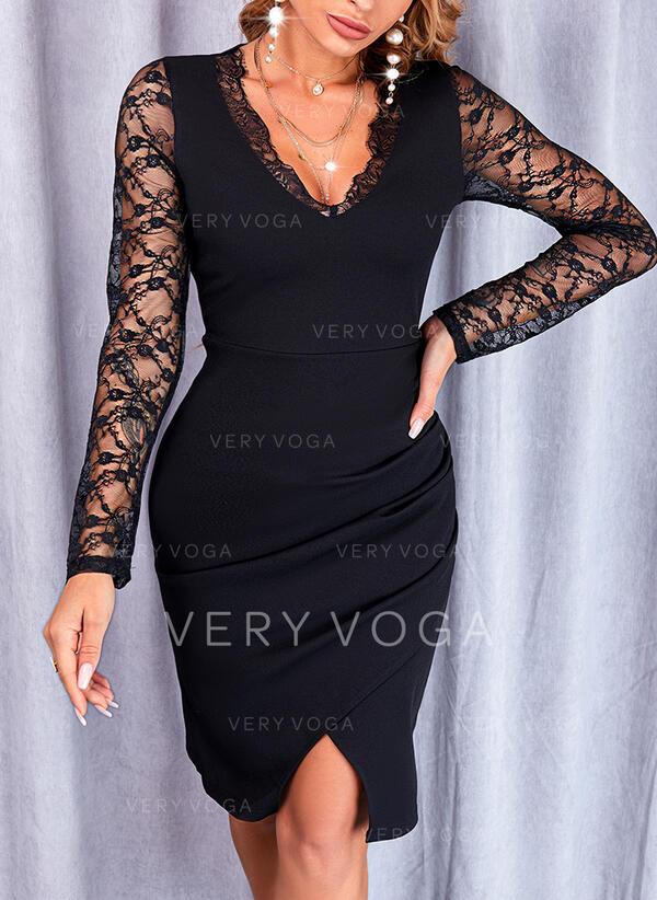 Sólido Encaje Manga Larga Cubierta Hasta la Rodilla Pequeños Negros/Elegante Vestidos
