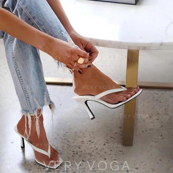 Dla kobiet PU Obcas Stiletto Sandały Czólenka Japonki Kapcie Z Jednolity kolor obuwie