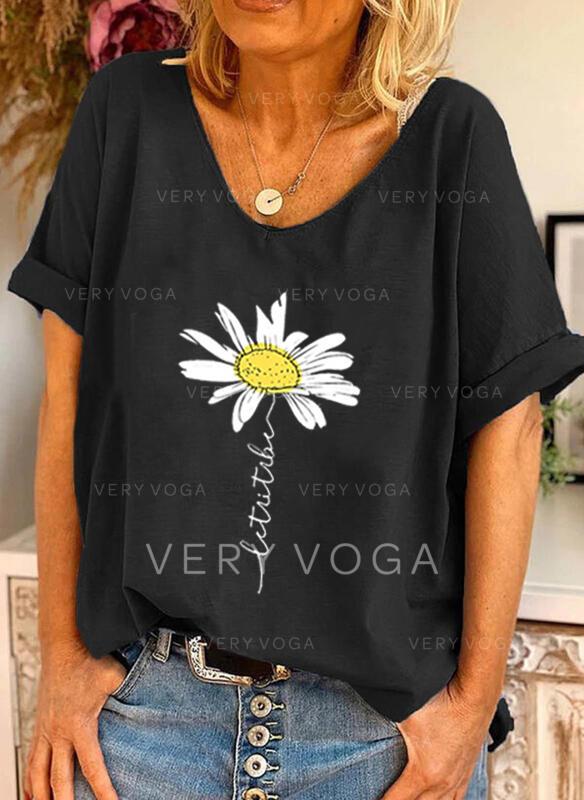 Figura Floral Estampado Gola Redonda Manga Curta Camisetas