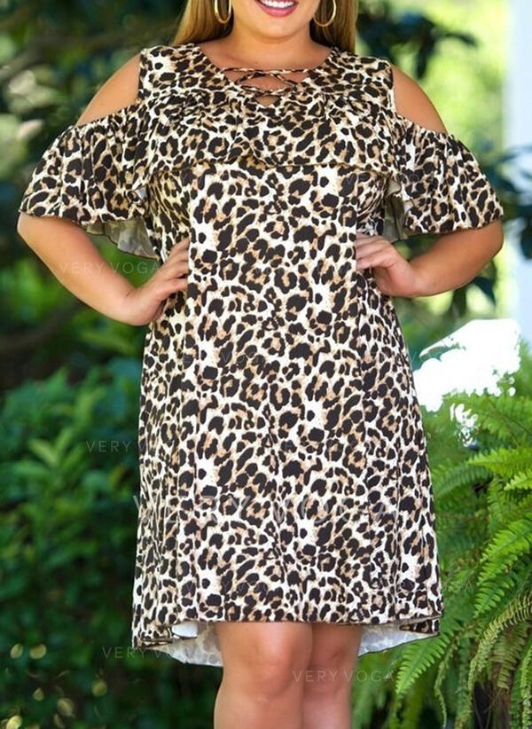 Plus Size Leopard 1/2 Sleeves Shift Knee Length Casual Dress