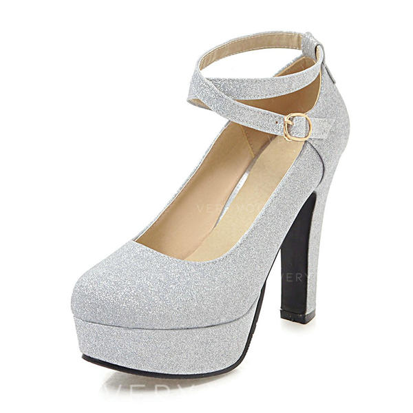 5d262d08f3 Women's PU Chunky Heel Pumps Platform With Sequin shoes (085186407 ...