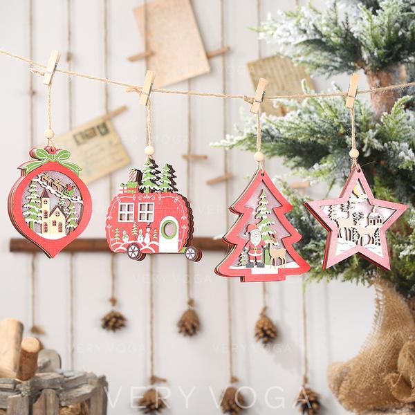 Crăciun Agăţat Brad de Crăciun Stea De lemn Lumini Pandantiv de Crăciun Ornamente pentru spânzurarea copacilor