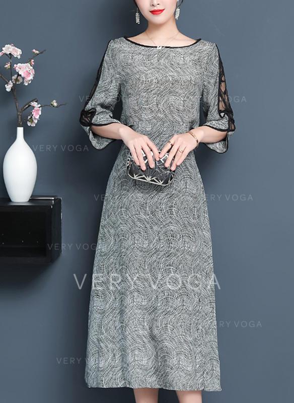 Koronka Okrągły Dekolt Midi Sukienkę przesunąć